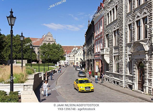 Yellow Taxi in Old Tallinn, Estonia