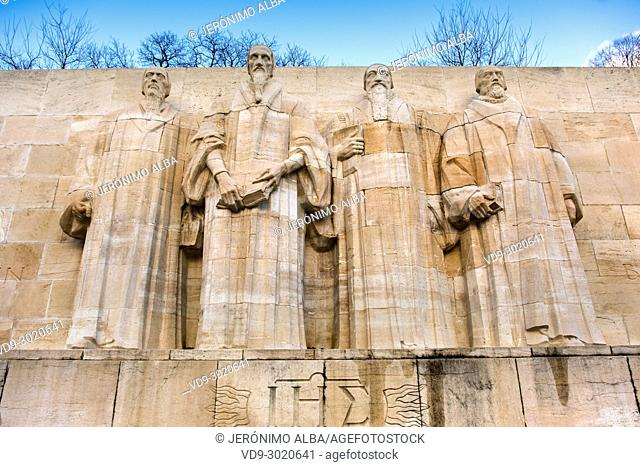 Detail from the Reformation Wall in Bastions Park showing Guillaume Farel, Jean Calvin, Theodore de Bèze and John Knox, Vieille-Ville. historic center