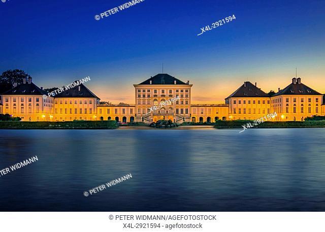 Nymphenburg Palace at sunset in Munich, Bavaria, Upper Bavaria, Germany, Europe