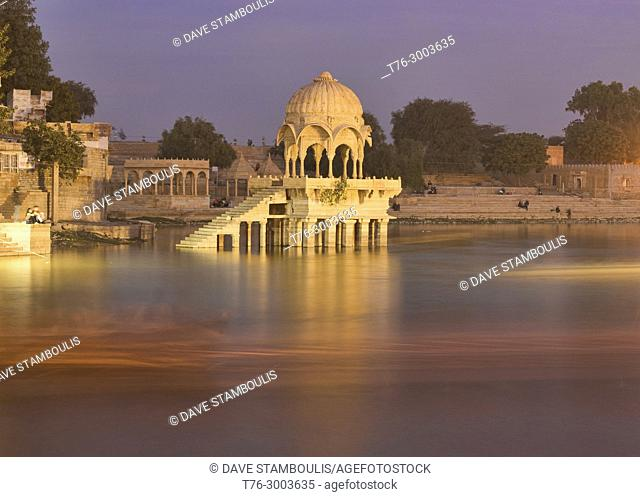Long exposure sunset at Gadisar Lake, Jaisalmer, Rajasthan, India