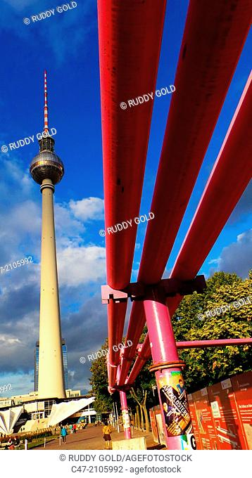 Berlin TV Tower and pipes, Berlin, Germany