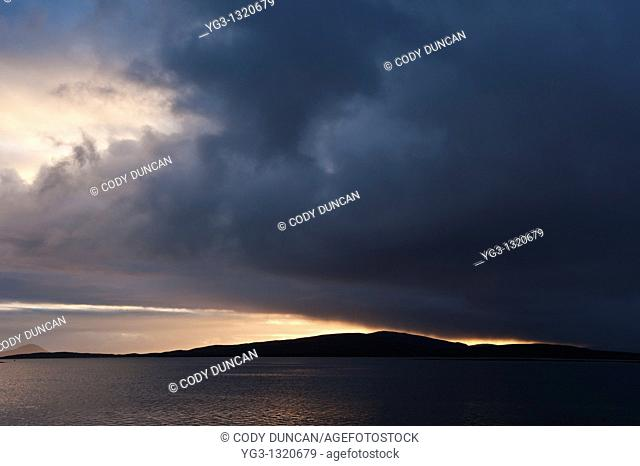 Sunset over Sound of Berneray and North Uist, Western Isles, Scotland