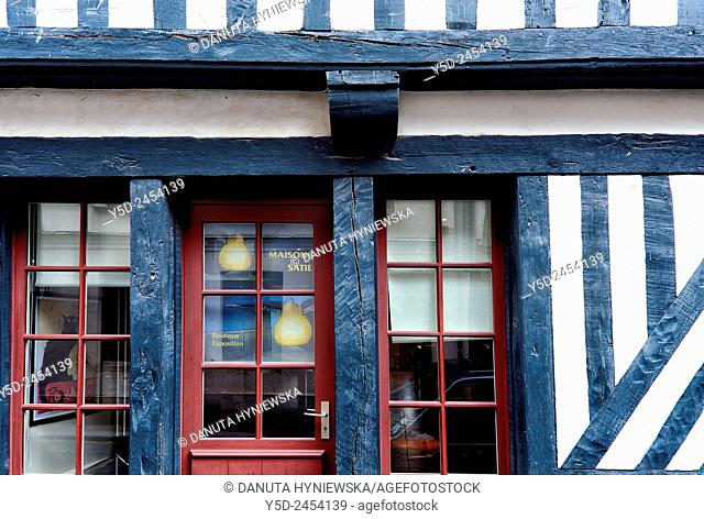 House of famous eccentric French composer and pianist Erik Satie, old town of Honfleur, Calvados, Normandy, France