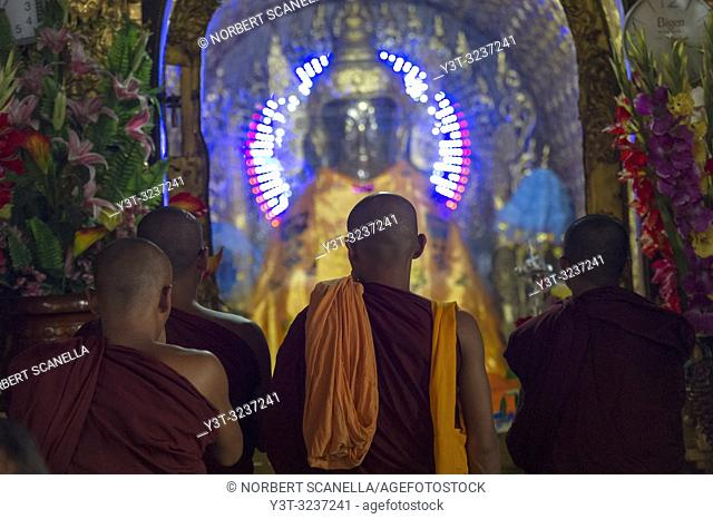 Myanmar (formerly Burma). Yangon. (Rangoon). The Shwedagon Pagoda Buddhist holy place is the first religious center of Burma because according to the legend