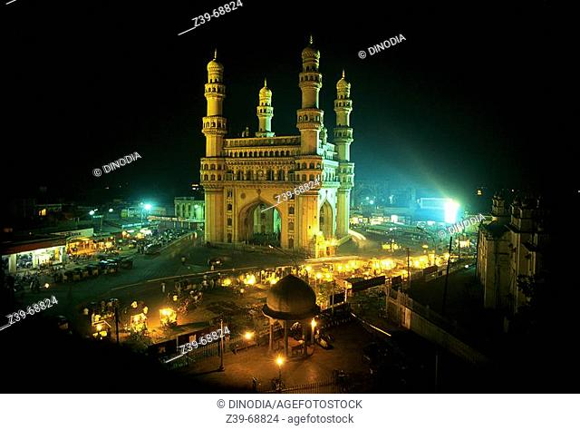 Charminar and the market. Hyderabad. India