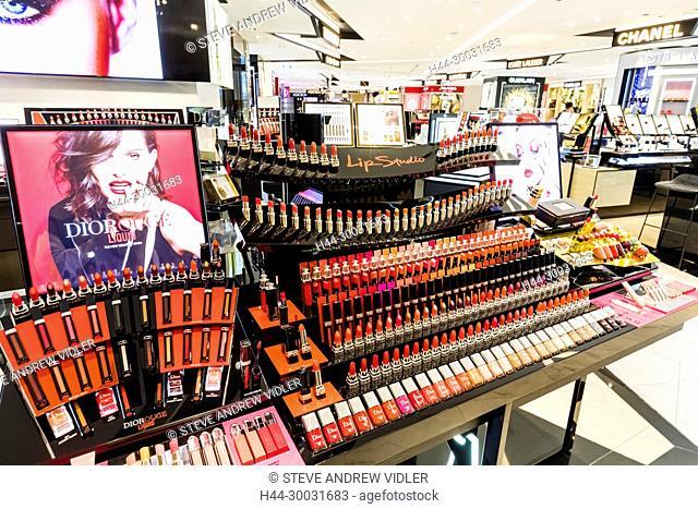 China, Hong Kong, Central, The Landmark, Cosmetics Store Display of Dior Lipsticks