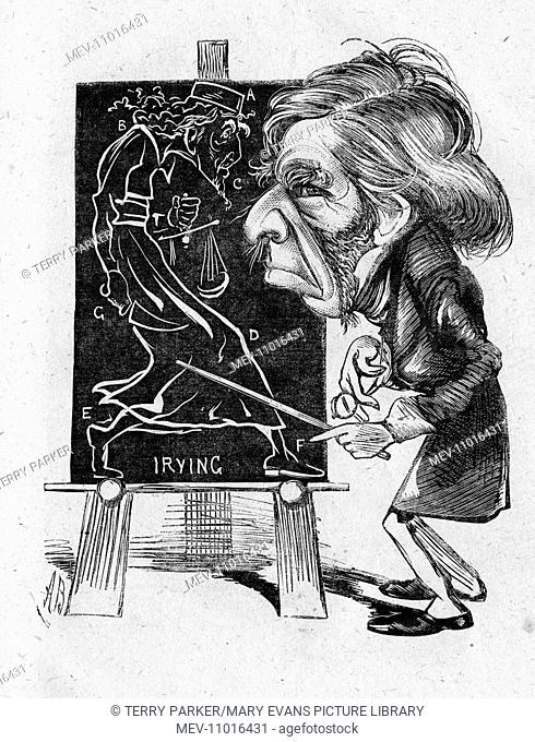 Caricature of John Ruskin (1819-1900), English art critic -- a comment on his criticism of Henry Irving, seen here in a drawing on a blackboard in the character...
