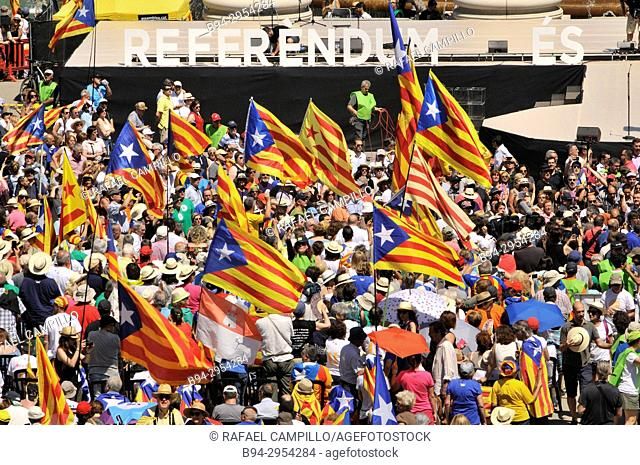 Political demonstration for the independence of Catalonia. Catalan independent flags. June 2017, Barcelona, Catalonia, Spain