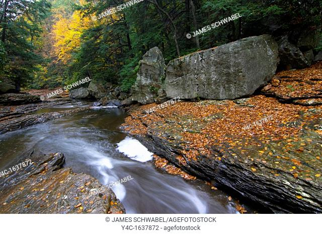The slides area of Meadow Run in Ohiopyle State Park in southwestern Pennsylvania