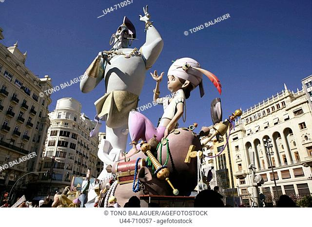 'Fallas' traditional celebration with humour, Valencia. Spain