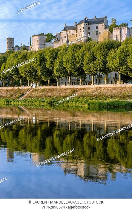 The banks of Vienne River and the Royal Fortress of Chinon. Indre-et-Loire, Central Region, Loire Valley, France, Europe