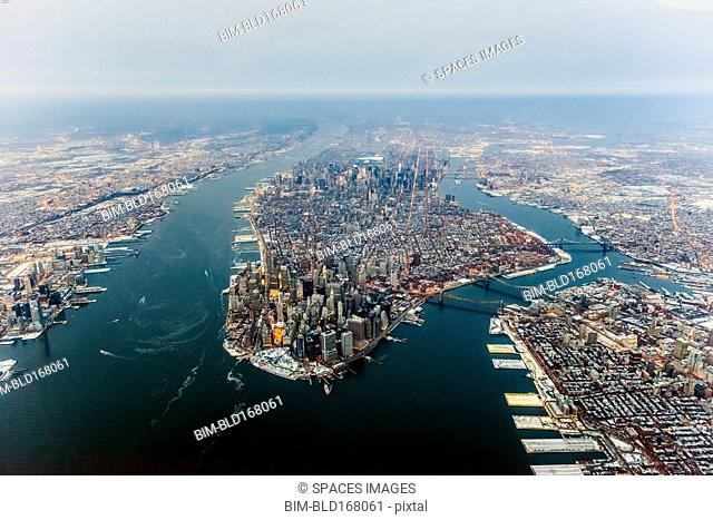 Aerial view of New York cityscape, New York, United States