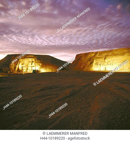 10189220, Abu Simbel, Egypt, North Africa, lighting, at night, Nefertari temple, Ramses temple