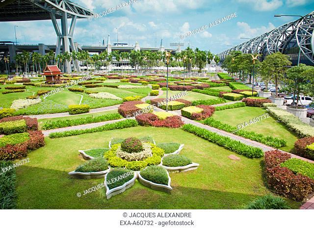View of an elaborate garden at Bangkok airport
