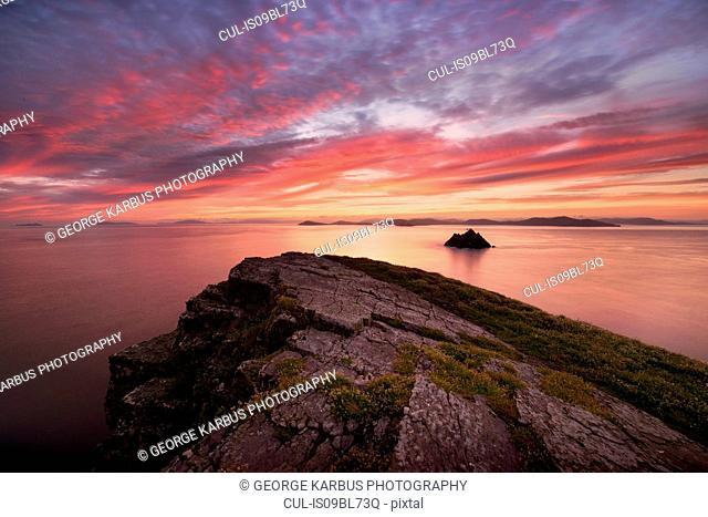 Skellig Michael at sunset, Portmagee, Kerry, Ireland
