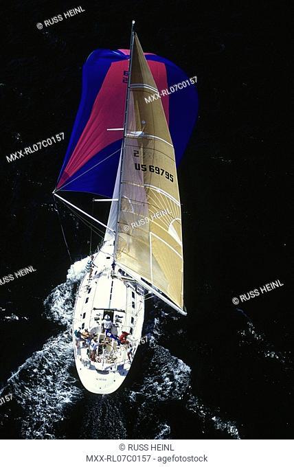 Aerial of sail boat