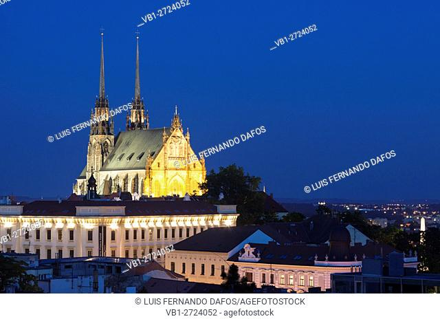 Brno overview with illuminated cathedral. Czech Republic