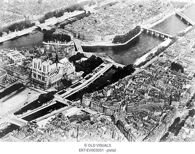 Overhead view of Paris France All persons depicted are not longer living and no estate exists Supplier warranties that there will be no model release issues
