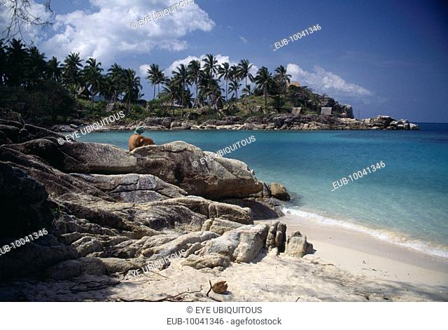 View from beach over rocks toward bay surrounded by rocks and palms