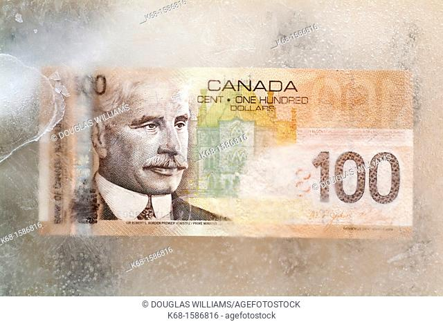 Canadian one hundred dollar bill in ice