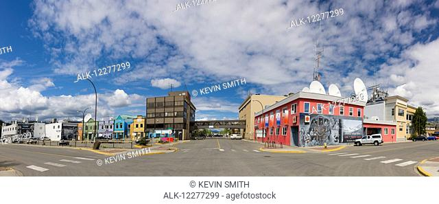 Colorful buildings and shops on Main Street in downtown Whitehorse, Yukon, Canada, Summer, Panorama