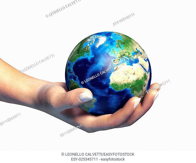 Human hand holding the planet earth, on white background. Clipping path included