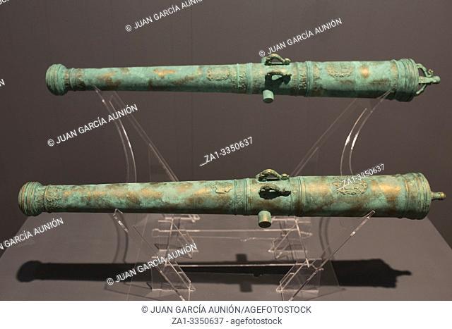 Cartagena, Spain - September 14th, 2018: Spanish 18th bronze cannon belonged to Santa Barbara and Santa Rufina ships. ARQUA Museum, Spain