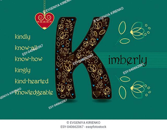 Name Day Card for Kimberly. Brown letter K with golden floral decor. Vintage red heart with chain. Words begining with the letter K - kingly, kindly