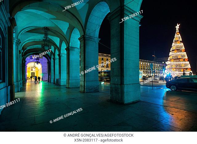 Christmas Tree and the Arcade in the Praca do Comercio, Lisbon, Portugal, Europe