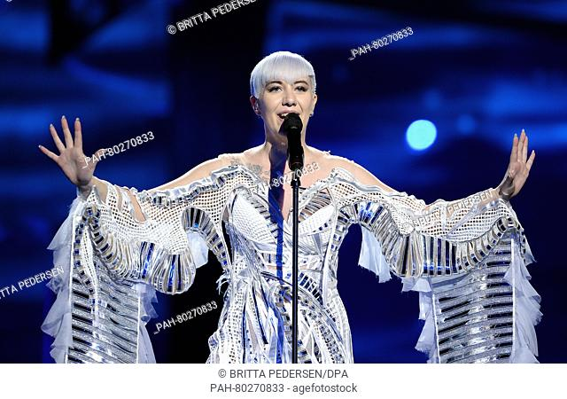 Croatia's Nina Kraljic performs the song 'Lighthouse' during rehearsals for the first semifinal of the 61st annual Eurovision Song Contest (ESC) at the Ericsson...