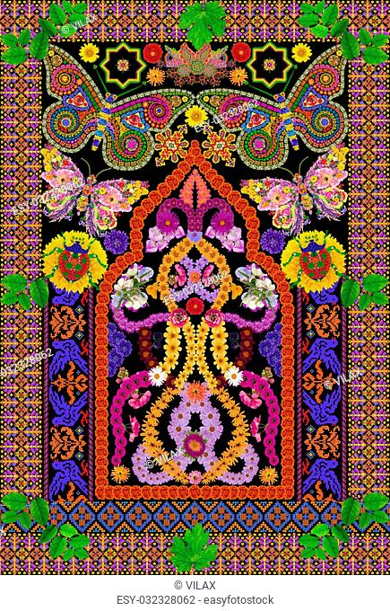 Rug for a prayer in Persian Butterfly style. Abstract handmade collage from summer flower on black background