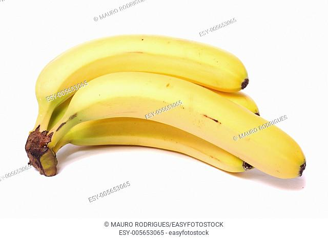 Close up view of a bunch of bananas isolated on a white background