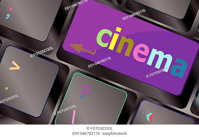 Business concept: Cinema key on the computer keyboard vector keyboard key. keyboard button. Vector illustration