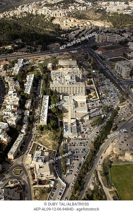 Aerial photograph of the Medical center of Shaare Tzedek in Jerusalem