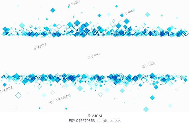 White banner with blue rhombs. Vector paper illustration