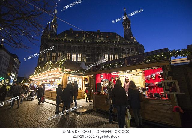 Traditional christmas market, Markt, Aachen, Germany