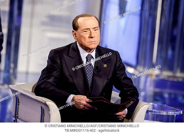 Leader of Forza Italia Party Silvio Berlusconi during the tv show ' Porta a porta ', Rome, ITALY-30-11-2016