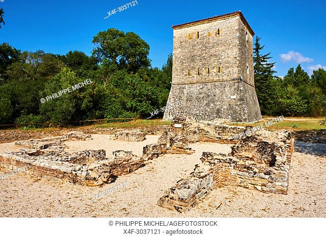 Albania, Vlore province, Butrint, Ruins of the greek city, UNESCO World Heritage Site, Venetian tower