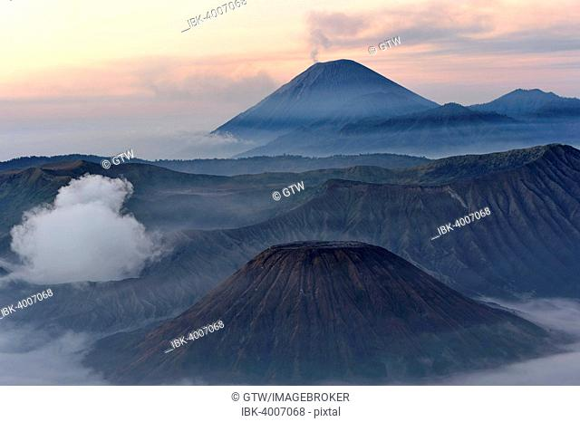 Sunrise over the smoking Gunung Bromo volcano, Bromo-Tengger-Semeru National Park, Java, Indonesia