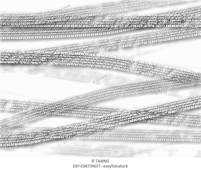 Background illustration of cutout white tire tracks