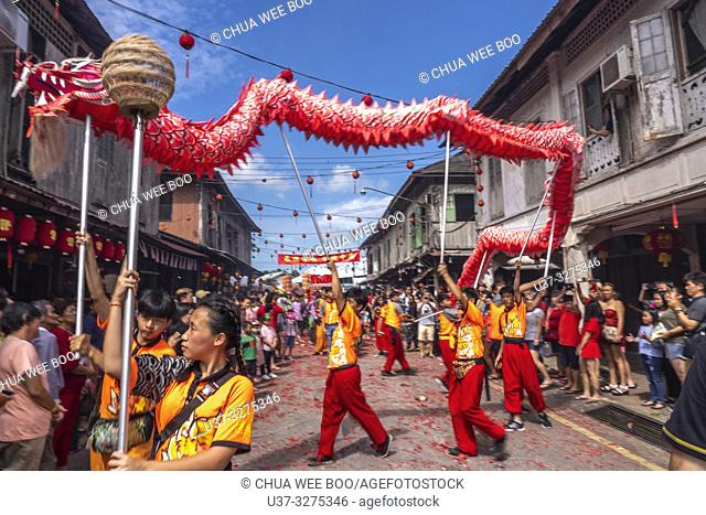 Dragon dance during Chinese New Year Festival Capgomeh year 2019 15th day of the 1st month at Siniawan, Sarawak, Malaysia