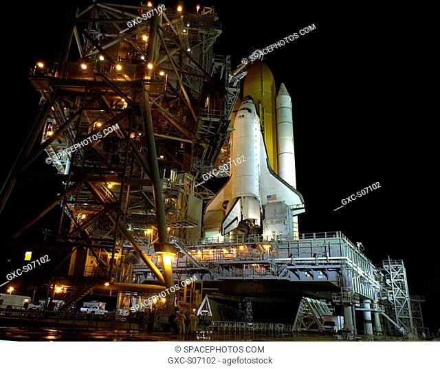 12/03/2001 -- The Rotating Service Structure on Launch Pad 39B rolls away from Space Shuttle Endeavour atop the Mobile Launcher Platform