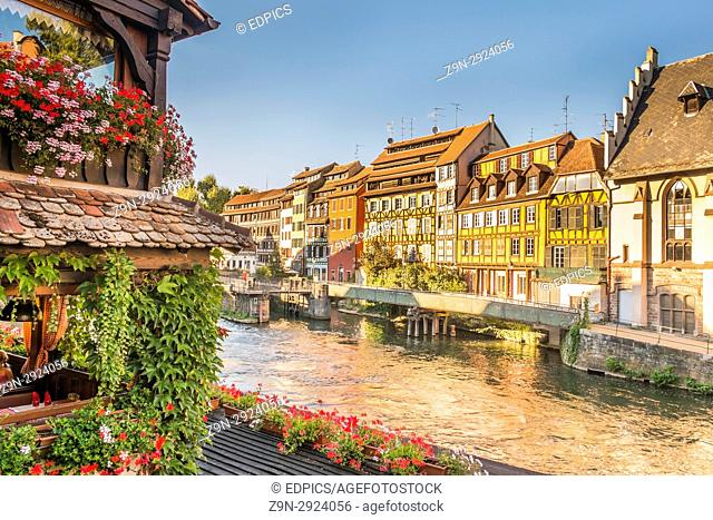 historic half-timbered buildings on the baks of river ill seen from pont saint martin bridge, petite france district, strasbourg, alsace, Bas-Rhin, France