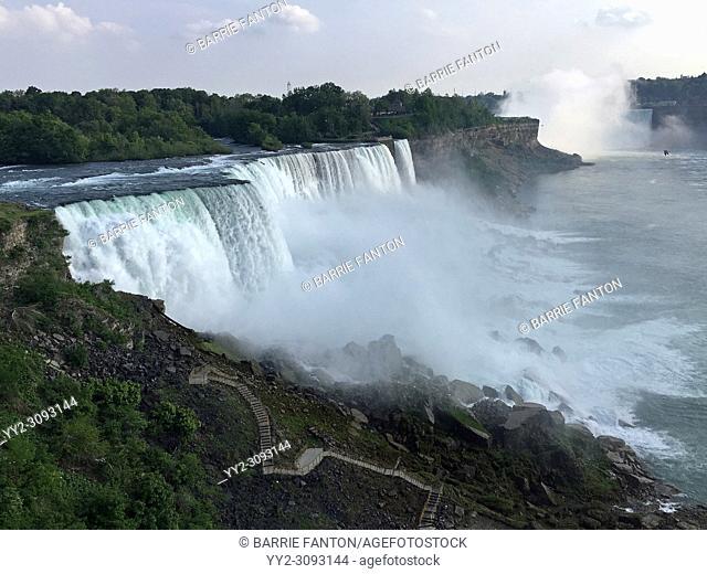 Niagara Falls and Walkway Down, From the American Side, Niagara Falls, New York, USA