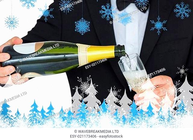 Composite image of welldressed man pouring champagne
