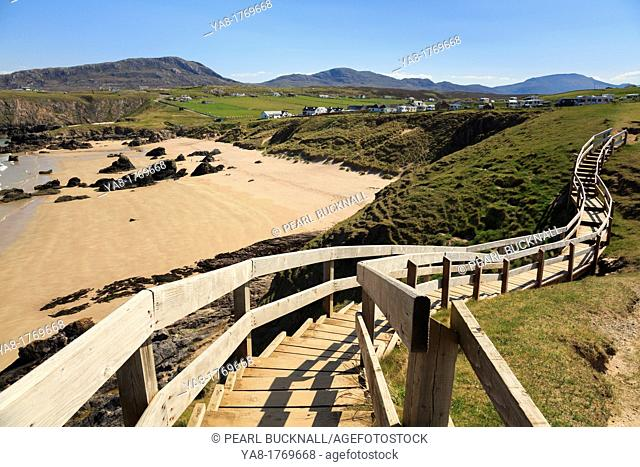 Sango Bay, Durness, Sutherland, Highland, Scotland, UK, Britain, Europe  Wooden steps from viewpoint overlooking the beach of golden sands on Scottish north...