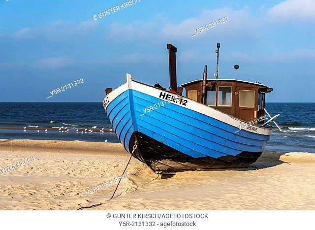 Blue Fishing boat at the Baltic Sea near the pier of the Baltic Sea resort of Heringsdorf, Municipality of Heringsdorf, Usedom Island