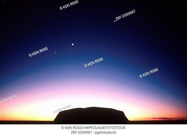 Ayer's Rock at Sunrise, With Venus & Moon, Northern Australia