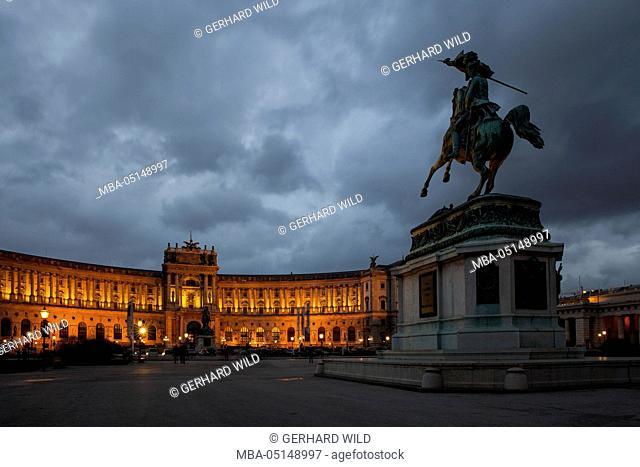 Austria, Vienna, Heldenplatz, Hofburg, equestrian statue archduke Charles