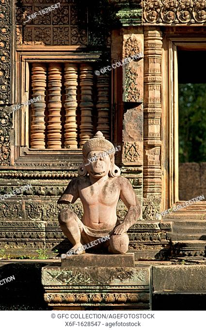 Statue of the Hanuman deity as temple guardian, Banteay Srei temple, Citadel of the Women, Angkor, Cambodia